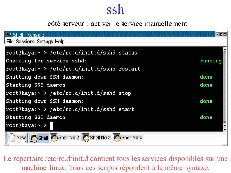 ssh côté serveur : activer le service manuellement Le répertoire /etc/rc.d/init.d contient tous les services disponibles sur une machine linux. Tous c