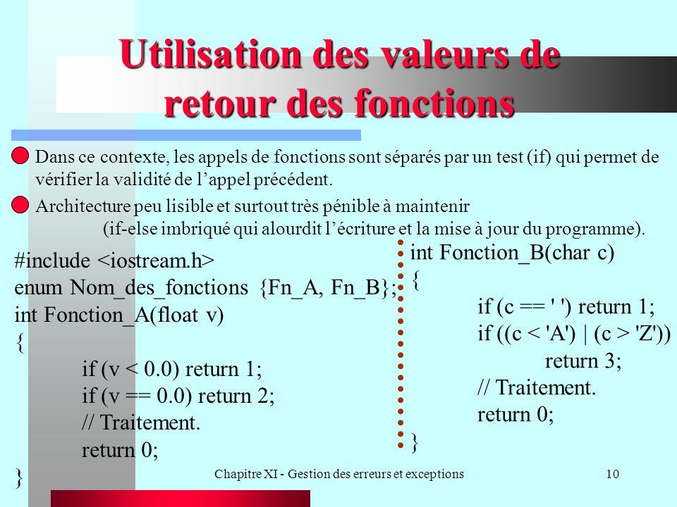 Chapitre XI - Gestion des erreurs et exceptions10 Utilisation des valeurs de retour des fonctions Dans ce contexte, les appels de fonctions sont séparés par un test (if) qui permet de vérifier la validité de lappel précédent.