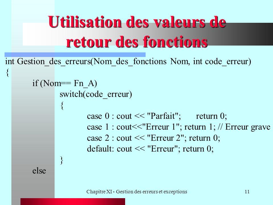 Chapitre XI - Gestion des erreurs et exceptions11 Utilisation des valeurs de retour des fonctions int Gestion_des_erreurs(Nom_des_fonctions Nom, int code_erreur) { if (Nom== Fn_A) switch(code_erreur) { case 0 : cout << Parfait ;return 0; case 1 : cout<< Erreur 1 ; return 1; // Erreur grave case 2 : cout << Erreur 2 ; return 0; default: cout << Erreur ; return 0; } else