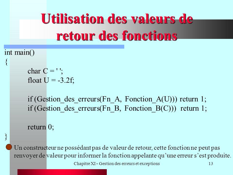 Chapitre XI - Gestion des erreurs et exceptions13 Utilisation des valeurs de retour des fonctions int main() { char C = ' '; float U = -3.2f; if (Gest