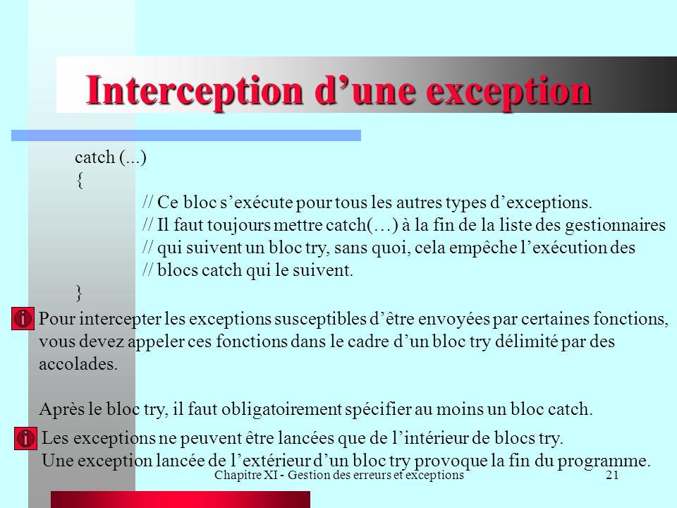 Chapitre XI - Gestion des erreurs et exceptions21 Interception dune exception catch (...) { // Ce bloc sexécute pour tous les autres types dexceptions.