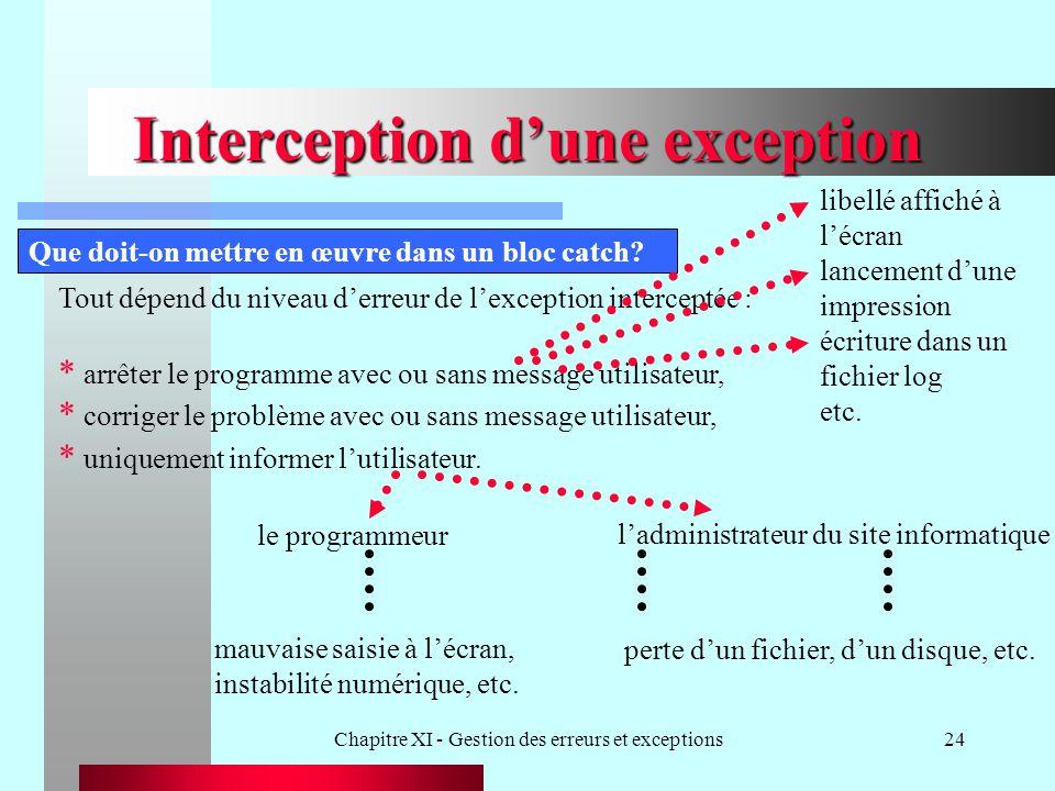 Chapitre XI - Gestion des erreurs et exceptions24 Interception dune exception Que doit-on mettre en œuvre dans un bloc catch? Tout dépend du niveau de