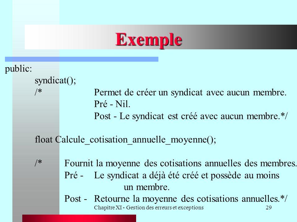 Chapitre XI - Gestion des erreurs et exceptions29 Exemple public: syndicat(); /*Permet de créer un syndicat avec aucun membre. Pré - Nil. Post - Le sy
