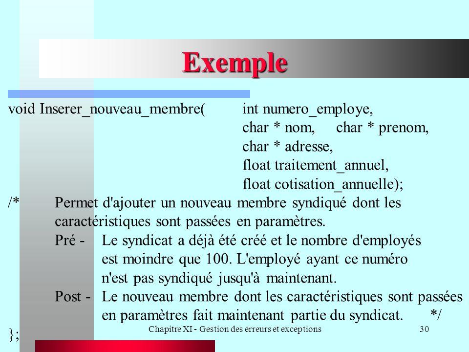 Chapitre XI - Gestion des erreurs et exceptions30 Exemple void Inserer_nouveau_membre(int numero_employe, char * nom,char * prenom, char * adresse, fl