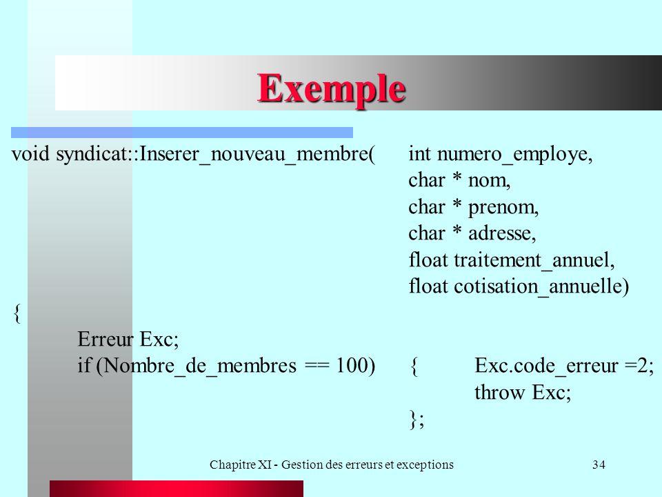 Chapitre XI - Gestion des erreurs et exceptions34 Exemple void syndicat::Inserer_nouveau_membre(int numero_employe, char * nom, char * prenom, char *