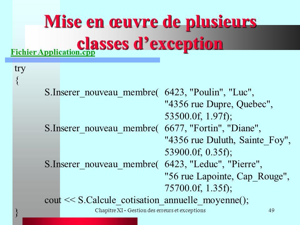 Chapitre XI - Gestion des erreurs et exceptions49 Mise en œuvre de plusieurs classes dexception Fichier Application.cpp try { S.Inserer_nouveau_membre