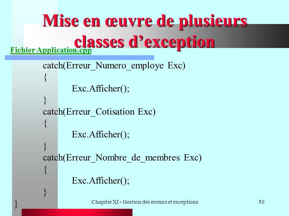Chapitre XI - Gestion des erreurs et exceptions50 Mise en œuvre de plusieurs classes dexception Fichier Application.cpp catch(Erreur_Numero_employe Exc) { Exc.Afficher(); } catch(Erreur_Cotisation Exc) { Exc.Afficher(); } catch(Erreur_Nombre_de_membres Exc) { Exc.Afficher(); }