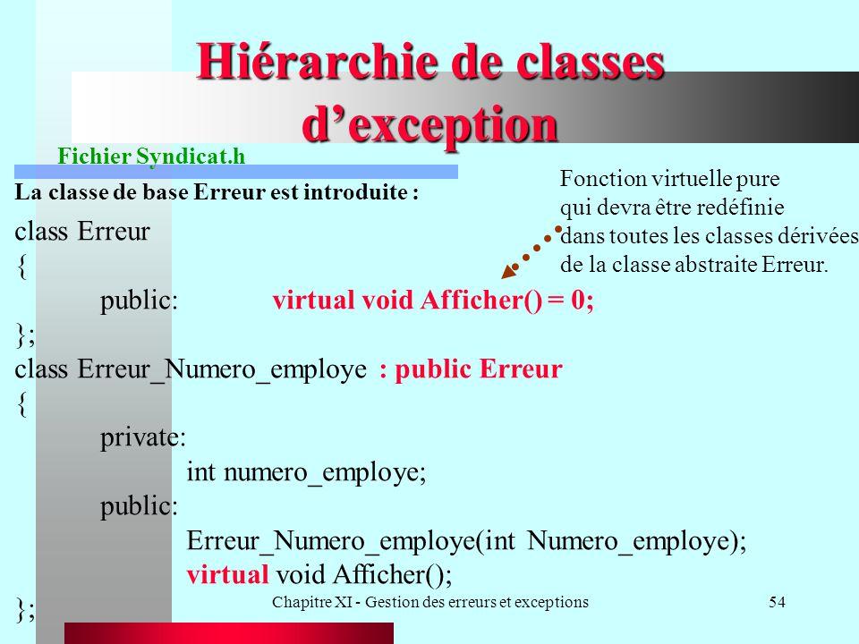Chapitre XI - Gestion des erreurs et exceptions54 Hiérarchie de classes dexception class Erreur { public:virtual void Afficher() = 0; }; class Erreur_