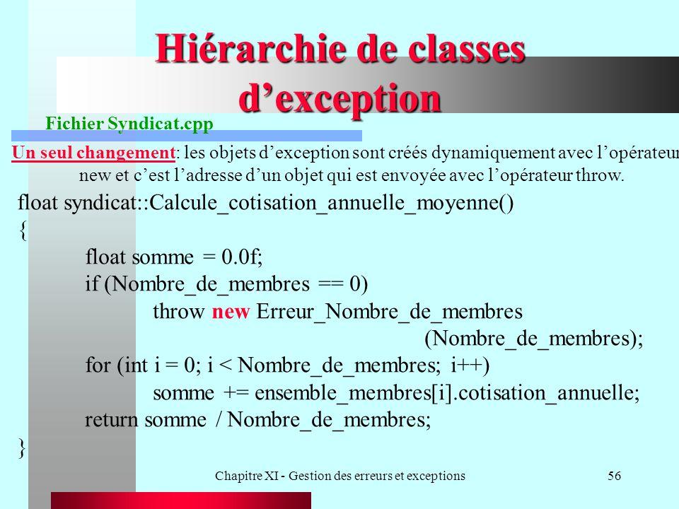 Chapitre XI - Gestion des erreurs et exceptions56 Hiérarchie de classes dexception Fichier Syndicat.cpp Un seul changement: les objets dexception sont