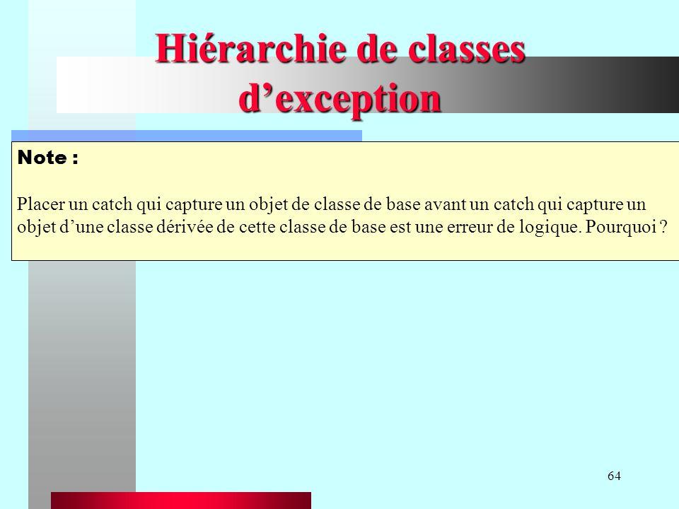 64 Hiérarchie de classes dexception Note : Placer un catch qui capture un objet de classe de base avant un catch qui capture un objet dune classe dérivée de cette classe de base est une erreur de logique.
