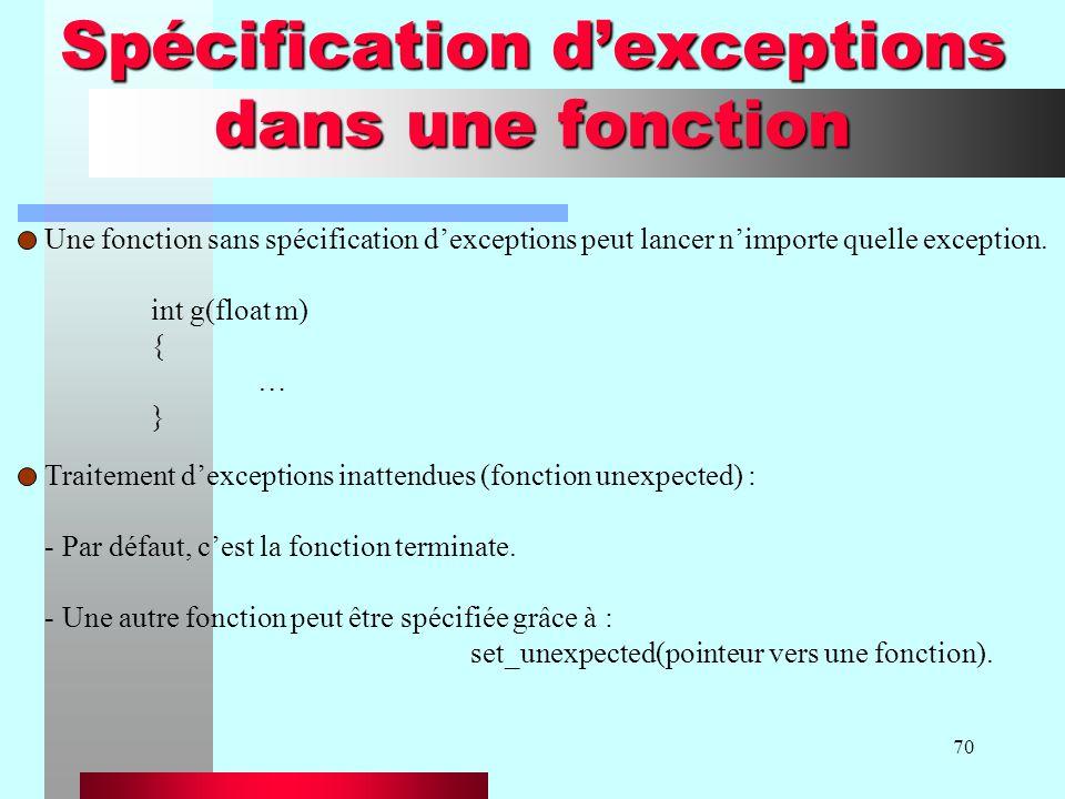 70 Spécification dexceptions dans une fonction Une fonction sans spécification dexceptions peut lancer nimporte quelle exception. int g(float m) { … }