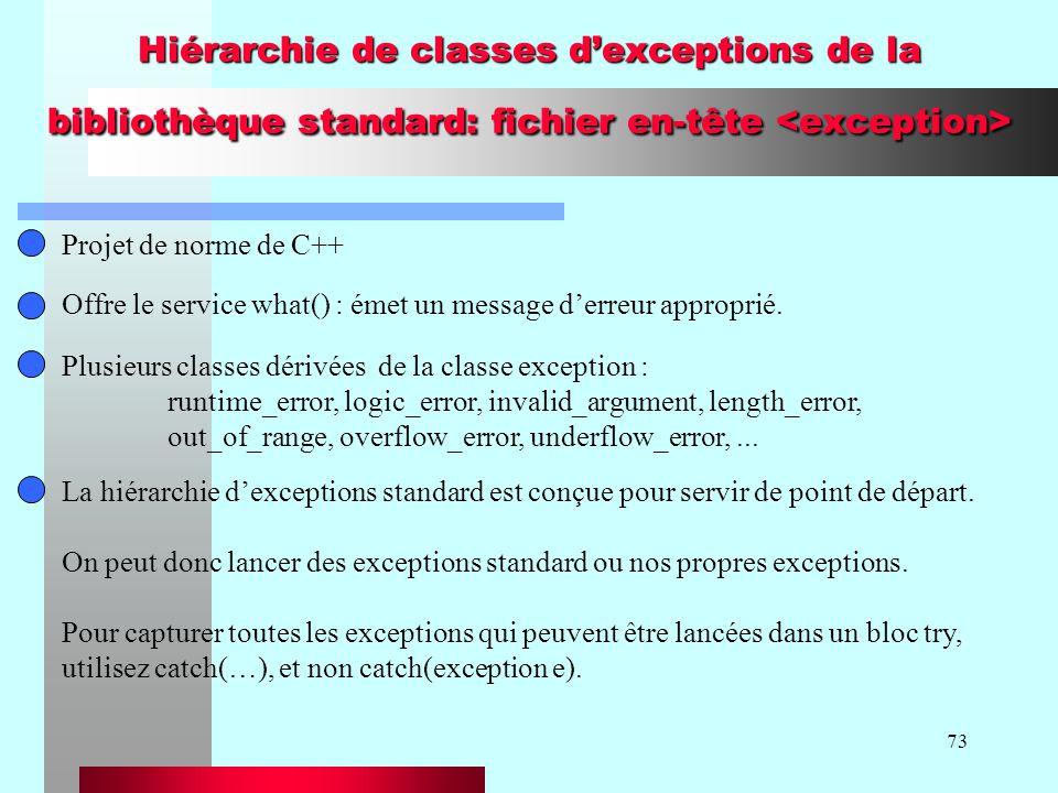 73 Hiérarchie de classes dexceptions de la bibliothèque standard: fichier en-tête Hiérarchie de classes dexceptions de la bibliothèque standard: fichier en-tête Projet de norme de C++ Offre le service what() : émet un message derreur approprié.
