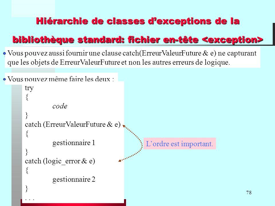 78 Hiérarchie de classes dexceptions de la bibliothèque standard: fichier en-tête Hiérarchie de classes dexceptions de la bibliothèque standard: fichi