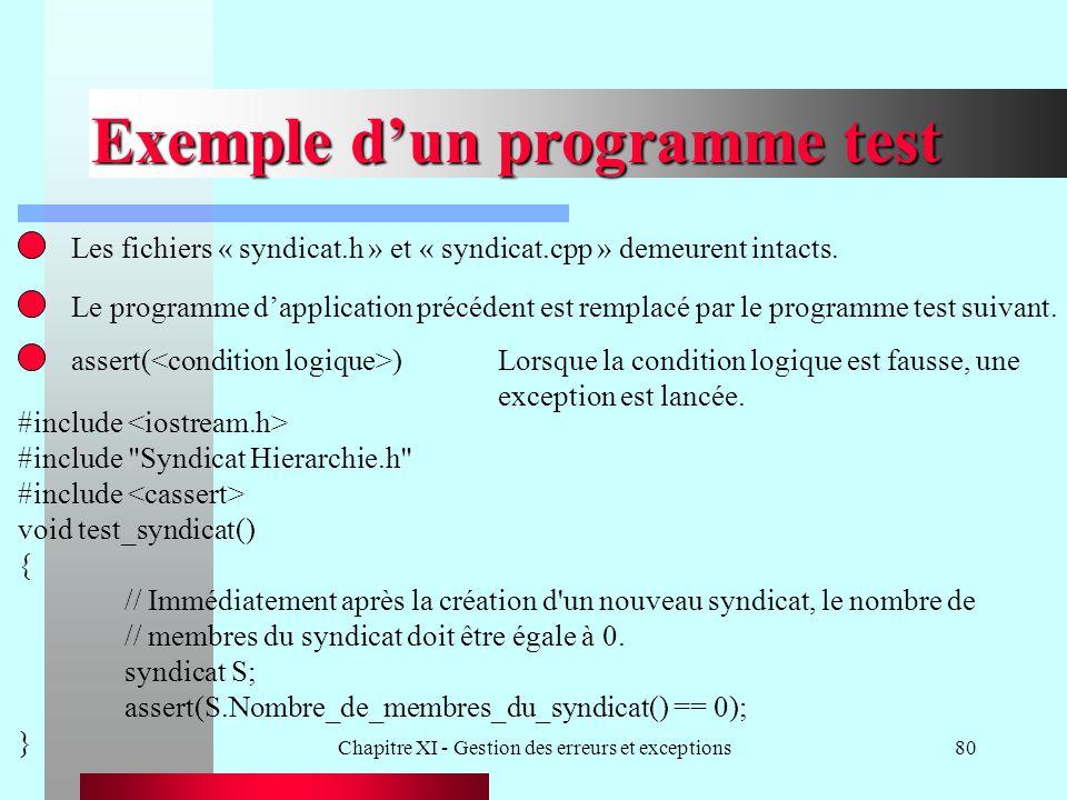 Chapitre XI - Gestion des erreurs et exceptions80 Exemple dun programme test Les fichiers « syndicat.h » et « syndicat.cpp » demeurent intacts. Le pro