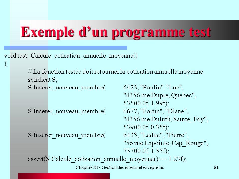 Chapitre XI - Gestion des erreurs et exceptions81 Exemple dun programme test void test_Calcule_cotisation_annuelle_moyenne() { // La fonction testée doit retourner la cotisation annuelle moyenne.