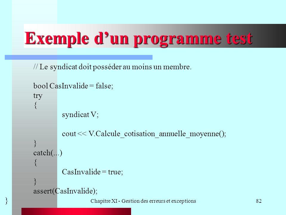 Chapitre XI - Gestion des erreurs et exceptions82 Exemple dun programme test // Le syndicat doit posséder au moins un membre. bool CasInvalide = false