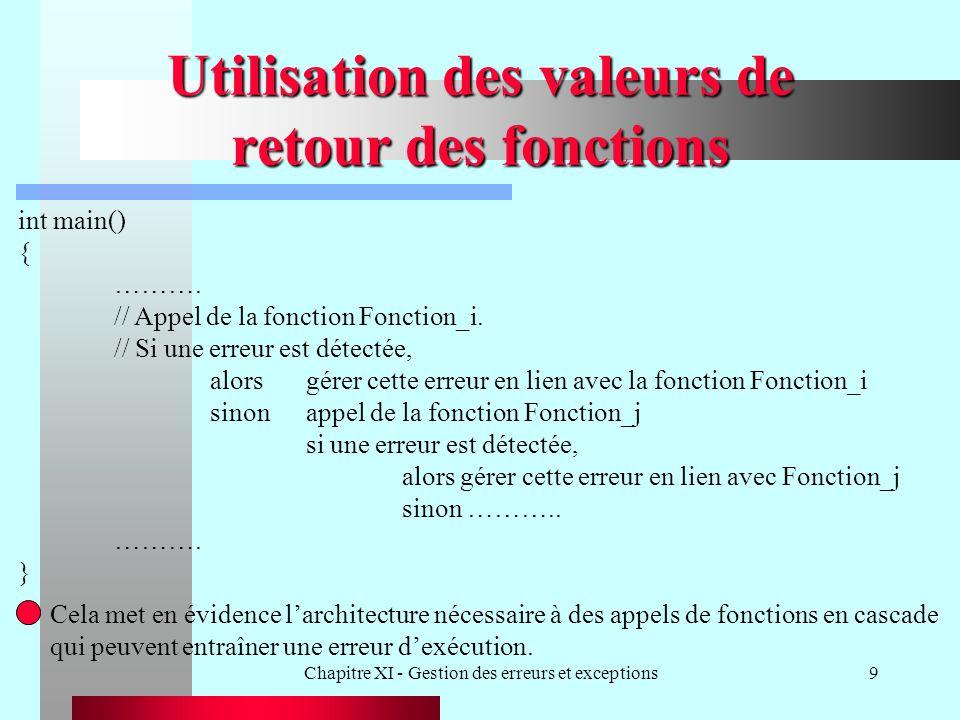 Chapitre XI - Gestion des erreurs et exceptions9 Utilisation des valeurs de retour des fonctions int main() { ………. // Appel de la fonction Fonction_i.