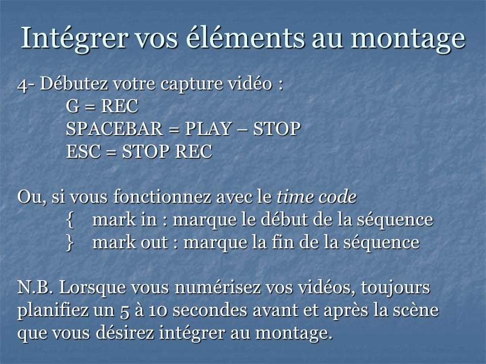 Intégrer vos éléments au montage 4- Débutez votre capture vidéo : G = REC SPACEBAR = PLAY – STOP ESC = STOP REC Ou, si vous fonctionnez avec le time code { mark in : marque le début de la séquence } mark out : marque la fin de la séquence N.B.