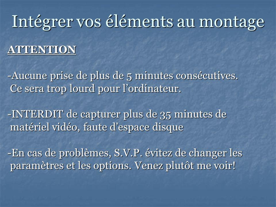 Intégrer vos éléments au montage ATTENTION -Aucune prise de plus de 5 minutes consécutives.