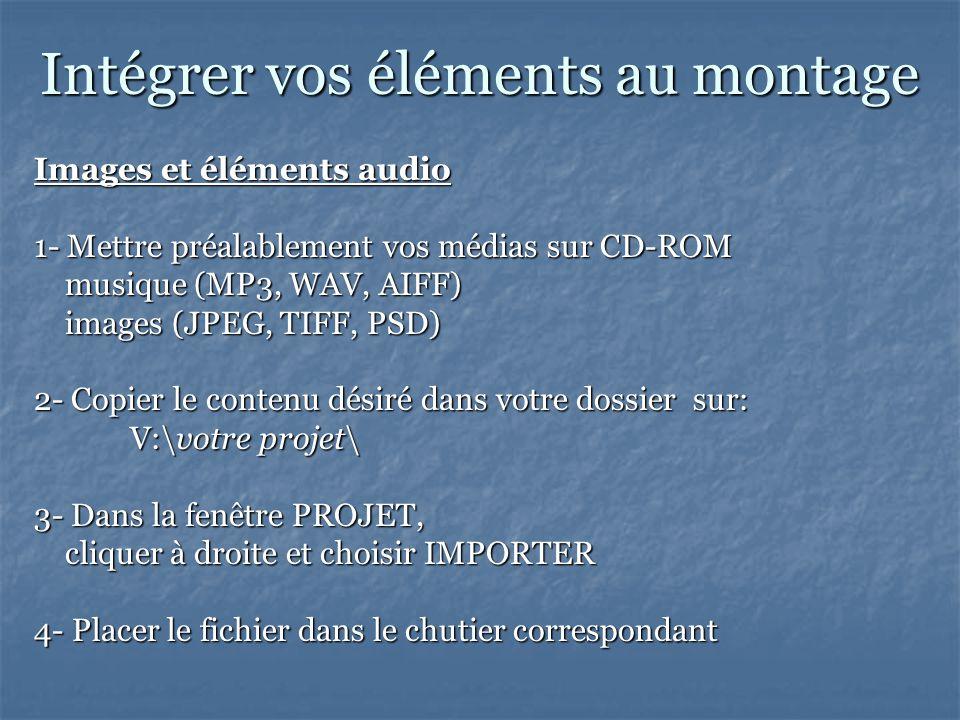 Intégrer vos éléments au montage Images et éléments audio 1- Mettre préalablement vos médias sur CD-ROM musique (MP3, WAV, AIFF) musique (MP3, WAV, AIFF) images (JPEG, TIFF, PSD) images (JPEG, TIFF, PSD) 2- Copier le contenu désiré dans votre dossier sur: V:\votre projet\ 3- Dans la fenêtre PROJET, cliquer à droite et choisir IMPORTER cliquer à droite et choisir IMPORTER 4- Placer le fichier dans le chutier correspondant