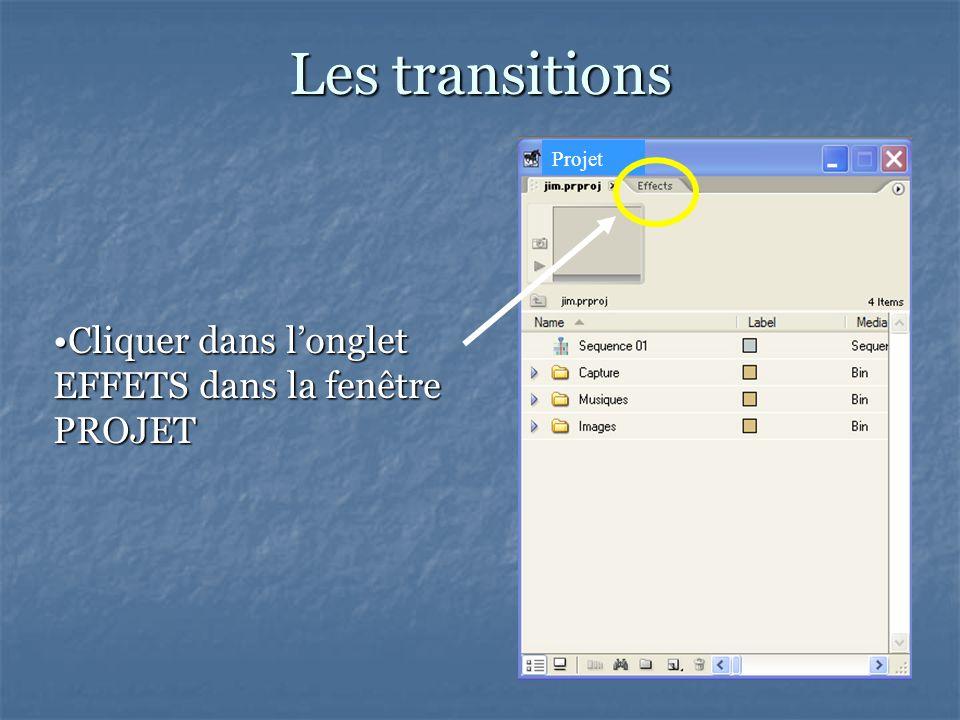 Les transitions Projet Cliquer dans longlet EFFETS dans la fenêtre PROJETCliquer dans longlet EFFETS dans la fenêtre PROJET