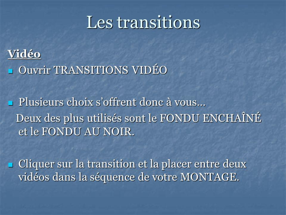Les transitions Vidéo Ouvrir TRANSITIONS VIDÉO Ouvrir TRANSITIONS VIDÉO Plusieurs choix soffrent donc à vous… Plusieurs choix soffrent donc à vous… Deux des plus utilisés sont le FONDU ENCHAÎNÉ et le FONDU AU NOIR.