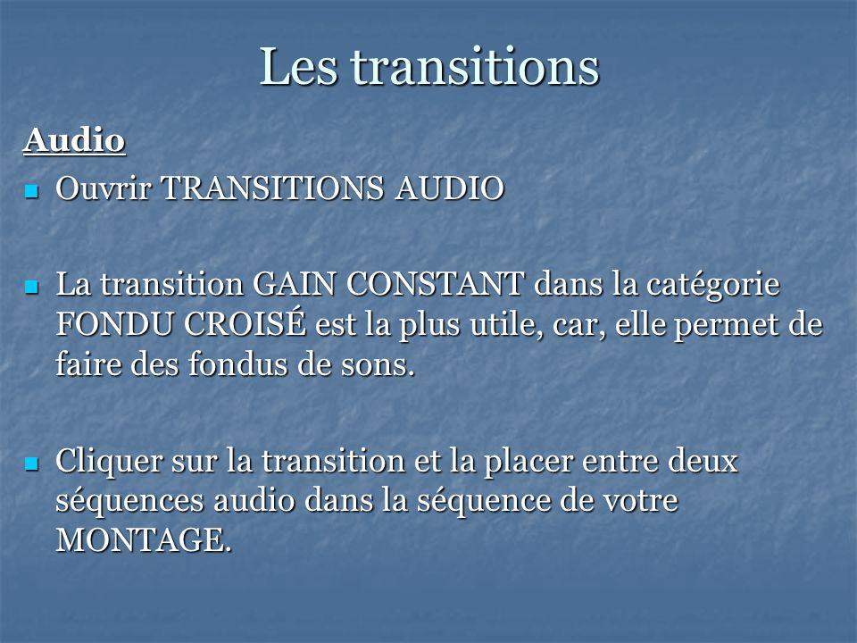 Les transitions Audio Ouvrir TRANSITIONS AUDIO Ouvrir TRANSITIONS AUDIO La transition GAIN CONSTANT dans la catégorie FONDU CROISÉ est la plus utile, car, elle permet de faire des fondus de sons.