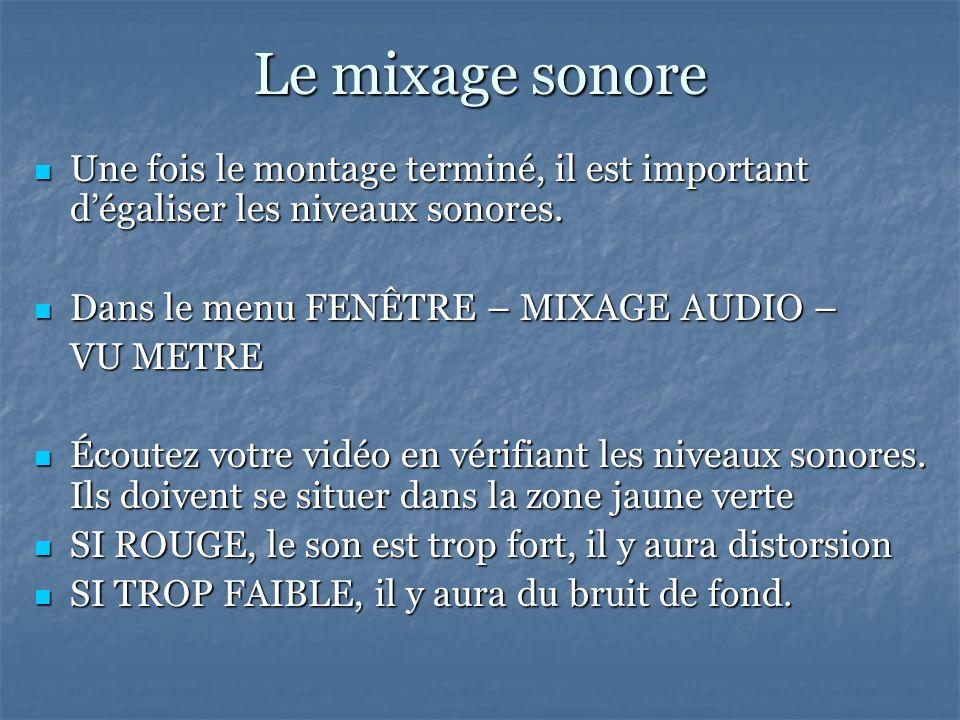 Le mixage sonore Une fois le montage terminé, il est important dégaliser les niveaux sonores.
