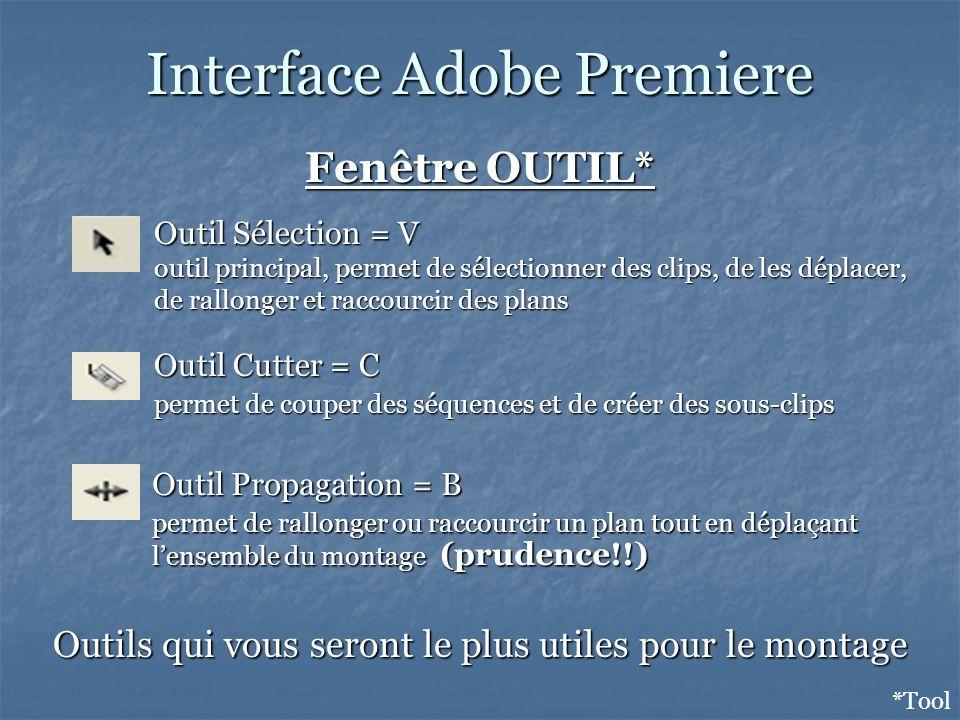 Interface Adobe Premiere Fenêtre OUTIL* *Tool Outils qui vous seront le plus utiles pour le montage Outil Sélection = V outil principal, permet de sélectionner des clips, de les déplacer, de rallonger et raccourcir des plans Outil Cutter = C permet de couper des séquences et de créer des sous-clips Outil Propagation = B permet de rallonger ou raccourcir un plan tout en déplaçant lensemble du montage (prudence!!)