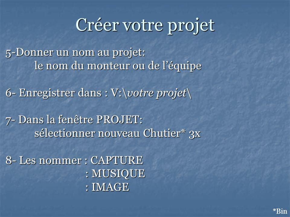 Créer votre projet 5-Donner un nom au projet: le nom du monteur ou de léquipe 6- Enregistrer dans : V:\votre projet\ 7- Dans la fenêtre PROJET: sélectionner nouveau Chutier* 3x 8- Les nommer : CAPTURE : MUSIQUE : MUSIQUE : IMAGE : IMAGE *Bin