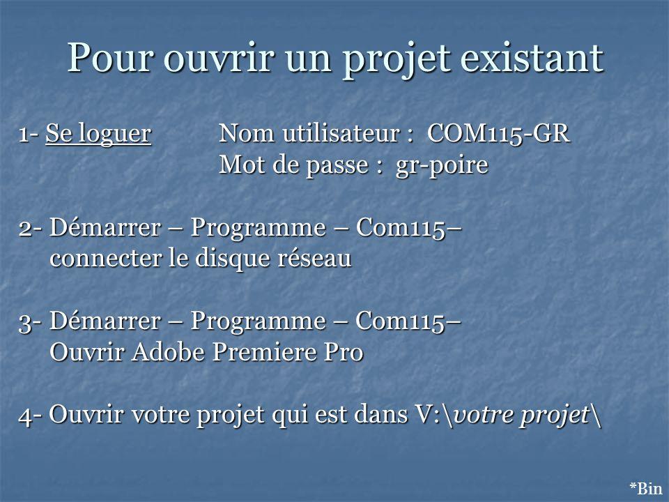 Pour ouvrir un projet existant *Bin 1- Se loguer Nom utilisateur : COM115-GR Mot de passe : gr-poire 2- Démarrer – Programme – Com115– connecter le di
