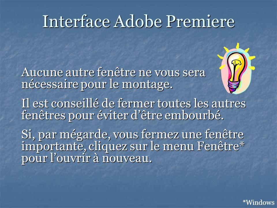 Interface Adobe Premiere *Windows Aucune autre fenêtre ne vous sera nécessaire pour le montage.