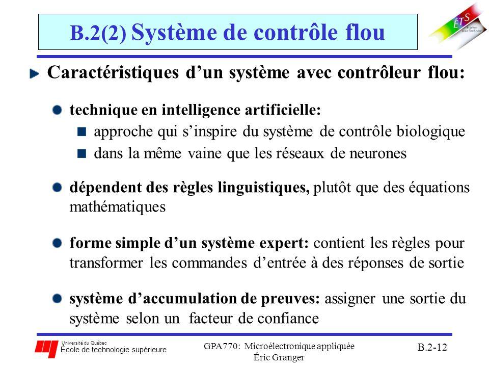 Université du Québec École de technologie supérieure GPA770: Microélectronique appliquée Éric Granger B.2-13 B.2(2) Système de contrôle flou Structure interne dun contrôleur à logique floue: structure semblable à un système de contrôle classique