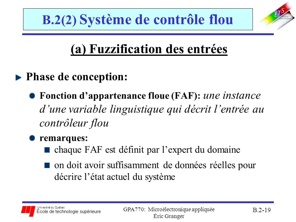 Université du Québec École de technologie supérieure GPA770: Microélectronique appliquée Éric Granger B.2-20 B.2(2) Système de contrôle flou (a)Fuzzification des entrées En général, les FAF dentrée sont des fonctions de forme: 1.trapézoïdales 2.triangulaires