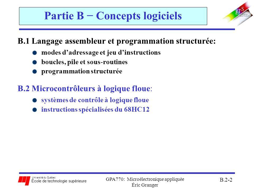 Université du Québec École de technologie supérieure GPA770: Microélectronique appliquée Éric Granger B.2-3 Sommaire de la Section B.2 B.2 Microcontrôleurs à logique floue: 1)Système de contrôle classique 2)Système de contrôle flou: a)fuzzification des entrées b)inférence c)dé-fuzzification 3)Opérations en logique floue du 68HCS12