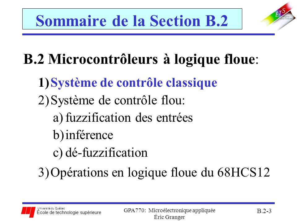 Université du Québec École de technologie supérieure GPA770: Microélectronique appliquée Éric Granger B.2-4 B.2(1) Système de contrôle classique Définition générale: tout système dont les sorties sont contrôlées par des entrées au système Figure – système de contrôle classique: exploite un contrôleur classique