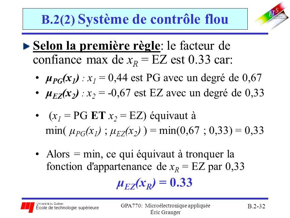 Université du Québec École de technologie supérieure GPA770: Microélectronique appliquée Éric Granger B.2-33 B.2(2) Système de contrôle flou Selon la deuxième règle: le facteur de confiance max de x R = NG est 0.67 car: μ EZ (x 1 ) : x 1 = 0,44 est EZ avec un degré de 0,33 μ NG (x 2 ) : x 2 = -0,67 est NG avec un degré de 0,67 (x 1 = EZ OU x 2 = NG) équivaut à max(μ EZ (x 1 ) ; μ NG (x 2 ) ) = max(0,33 ; 0,67) = 0,67 Alors = min, ce qui équivaut à tronquer la fonction d appartenance de x R = NG par 0,67 μ NG (x R ) = 0.67
