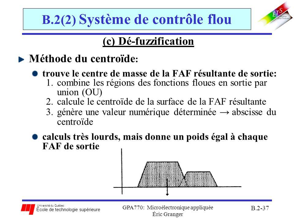 Université du Québec École de technologie supérieure GPA770: Microélectronique appliquée Éric Granger B.2-38 B.2(2) Système de contrôle flou Conclusions: