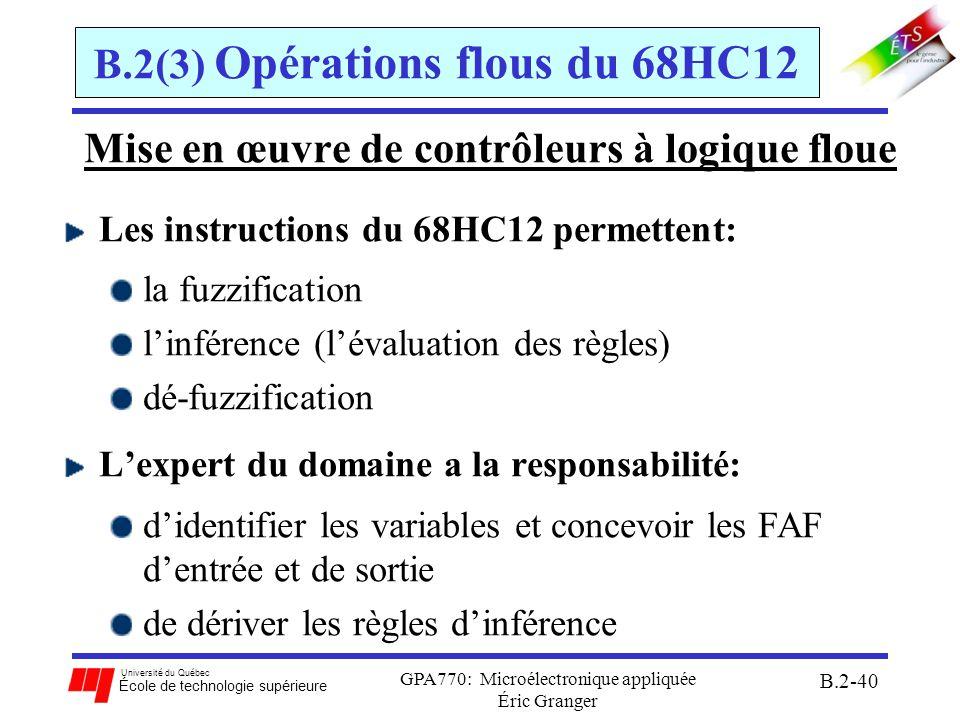 Université du Québec École de technologie supérieure GPA770: Microélectronique appliquée Éric Granger B.2-41 B.2(3) Opérations flous du 68HC12 Architecture dun contrôleur à logique flou:
