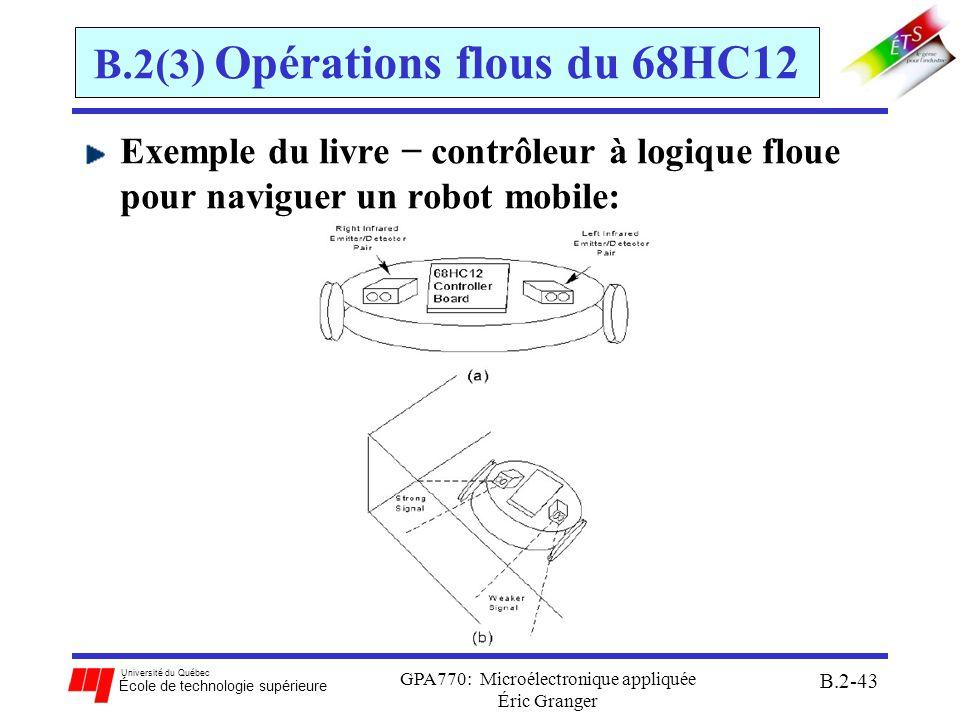 Université du Québec École de technologie supérieure GPA770: Microélectronique appliquée Éric Granger B.2-44 B.2(3) Opérations flous du 68HC12 Étapes de conception 68HC12 1.Identifier les variables linguistiques en décrivant toutes les entrées au contrôleur Exemple du robot p.147 (J.