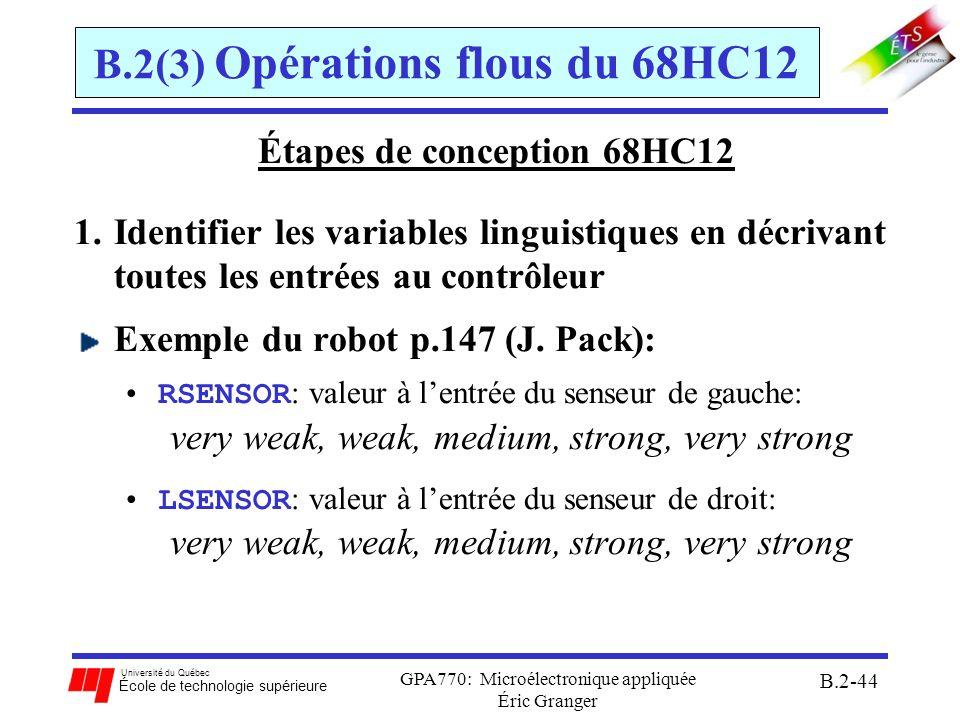 Université du Québec École de technologie supérieure GPA770: Microélectronique appliquée Éric Granger B.2-45 B.2(3) Opérations flous du 68HC12 Étapes de conception 68HC12 2.Concevoir les FAF pour décrire chaque variable linguistique dentrée: avec le 68HCS12, chaque FAF doit avoir une forme trapézoïdale pour chaque senseur, les degrés dappartenance sont représentés avec 256 valeurs discrètes: –valeur $00 aucune appartenance 0% –valeur $FF pleine appartenance 100% pour chaque FAF, on spécifie 4 valeurs: –2 points: (1) le point le plus à gauche et (2) le plus à droit –2 pentes: (3) la pente de gauche et (4) la pente de droite