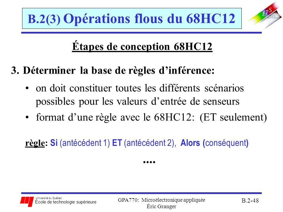 Université du Québec École de technologie supérieure GPA770: Microélectronique appliquée Éric Granger B.2-49 B.2(3) Opérations flous du 68HC12 Étapes de conception 68HC12 4.Réalisation les règles dinférence: encoder les règles pour toutes les combinaisons dentrées en utilisant le format: règle 1: antécédent 1, antécédent 2, $FE, conséquent, $FE....