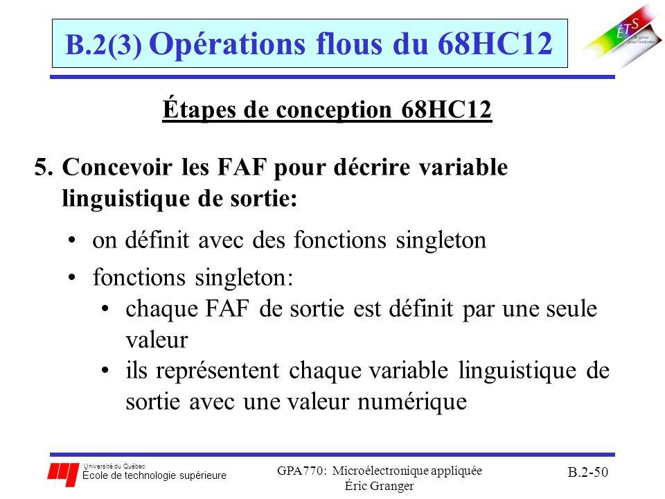 Université du Québec École de technologie supérieure GPA770: Microélectronique appliquée Éric Granger B.2-51 B.2(3) Opérations flous du 68HC12 Étapes de conception 68HC12 Exemple du robot: singletons: Medium Left ($40), Small Left ($60), Zero ($80), Small Right ($A0), Medium Right ($C0)