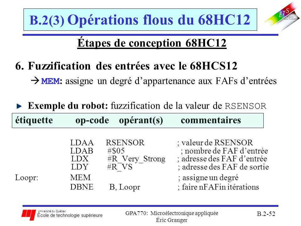 Université du Québec École de technologie supérieure GPA770: Microélectronique appliquée Éric Granger B.2-53 B.2(3) Opérations flous du 68HC12 Étapes de conception 68HC12 7.Évaluation des règles dinférence avec le 68HCS12 REV : évaluation des règles dinférence selon les entrées fuzzifiées Exemple du robot: étiquetteop-code opérant(s) commentaires LDY #R_VS ; adresse des FAF de sortie LDX #Rule_Start ; adresse des règles LDAA #$FF ; initialise et fixer V=0 REV ; évaluer toutes les règles