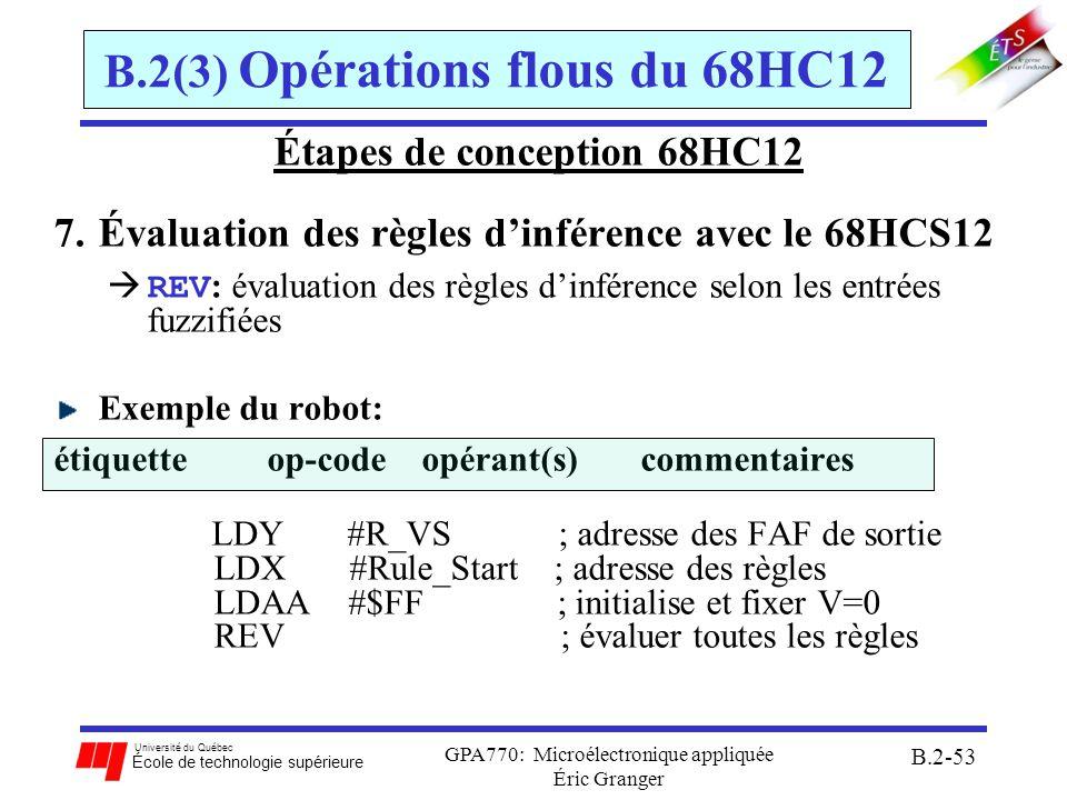 Université du Québec École de technologie supérieure GPA770: Microélectronique appliquée Éric Granger B.2-54 B.2(3) Opérations flous du 68HC12 Étapes de conception 68HC12 7.Dé-fuzzification combiner le résultat de toutes FAFs de sorties pour obtenir une valeur numérique déterminée calcule la moyenne pondérée des valeurs de FAF de sortie.