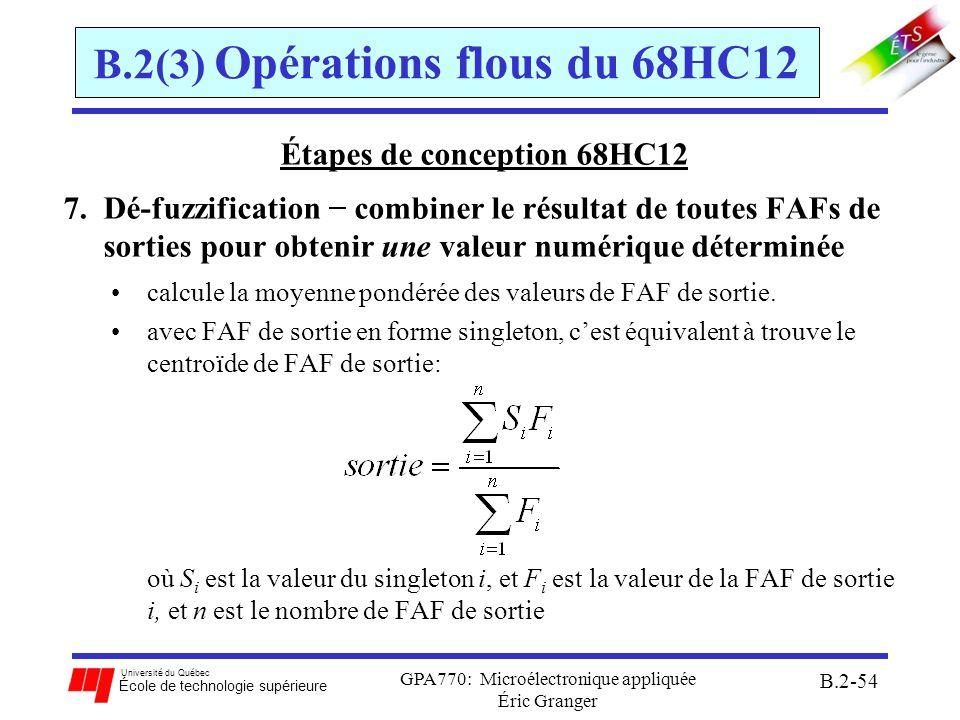 Université du Québec École de technologie supérieure GPA770: Microélectronique appliquée Éric Granger B.2-55 B.2(3) Opérations flous du 68HC12 Étapes de conception 68HC12 7.Dé-fuzzification avec le 68HC12 WAV : calcule une somme pondérée des valeurs stockées en mémoire Exemple du robot: étiquetteop-code opérant(s) commentaires LDX #Medium_Left ; début des fonctions singleton LDY #ML ; début des FAF de sortie LDAB #$05 ; nombre de FAF de sortie WAV ; calcul valeur déterminé EDIV ; division étendue