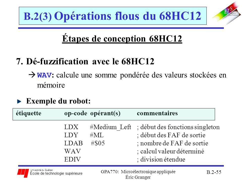Université du Québec École de technologie supérieure GPA770: Microélectronique appliquée Éric Granger B.2-55 B.2(3) Opérations flous du 68HC12 Étapes