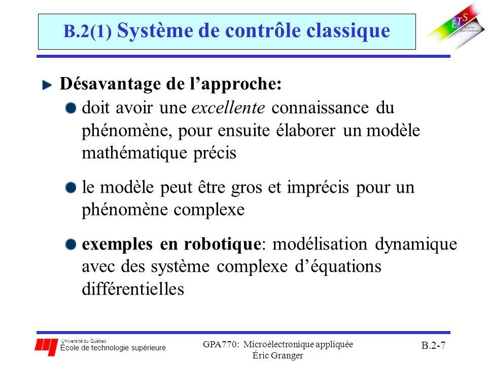 Université du Québec École de technologie supérieure GPA770: Microélectronique appliquée Éric Granger B.2-8 Sommaire de la Section B.2 B.2 Microcontrôleurs à logique floue: 1)Système de contrôle classique 2)Système de contrôle flou: a)fuzzification des entrées b)inférence c)dé-fuzzification 3)Opérations en logique floue du 68HC12
