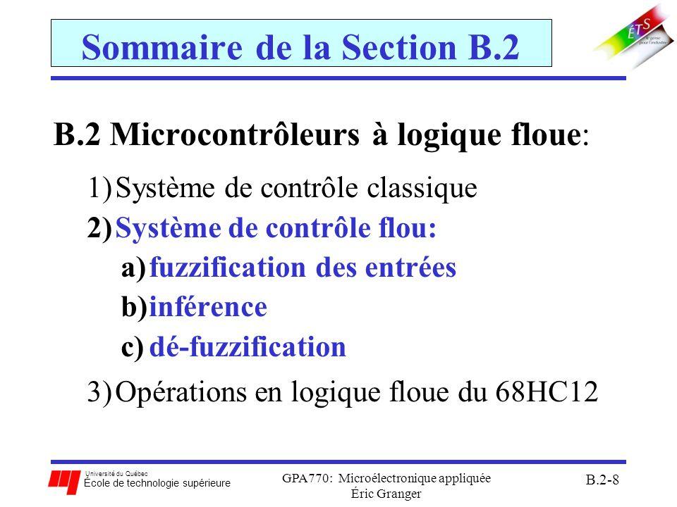 Université du Québec École de technologie supérieure GPA770: Microélectronique appliquée Éric Granger B.2-9 B.2(2) Système de contrôle flou