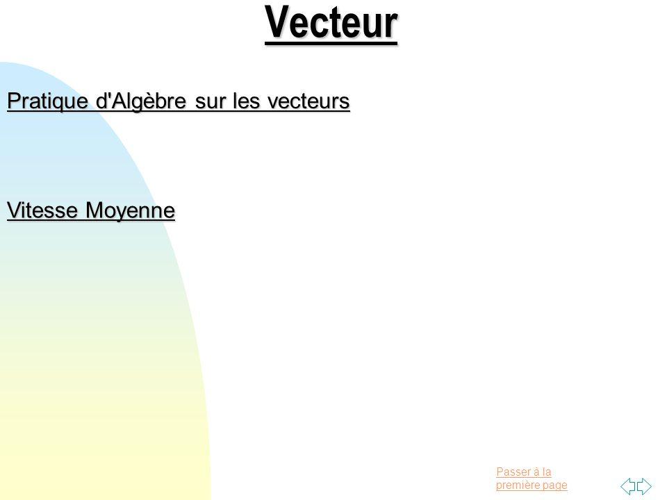 Passer à la première pageVecteur Pratique d Algèbre sur les vecteurs Vitesse Moyenne